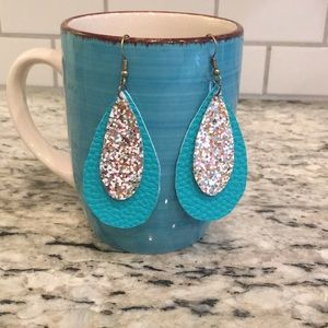 Turquoise/glitter leather dangles